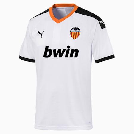 Camisola principal do Valencia CF Replica para homem, White- Black-Vibrant Orange, small