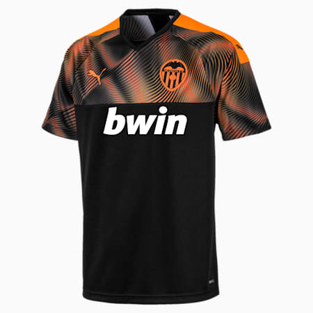 Valencia CF Away Replica Men's Jersey, Puma Black-Vibrant Orange, small
