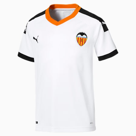 Valencia CF Home Replica Youth Jersey, White- Black-Vibrant Orange, small