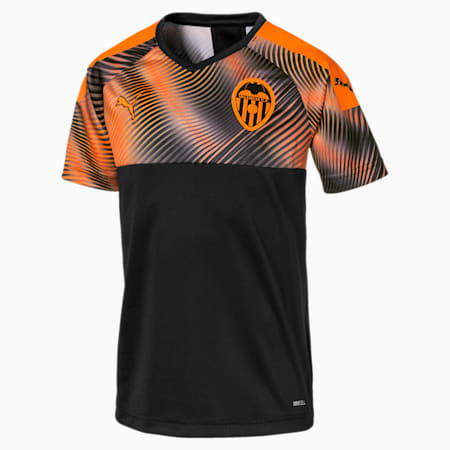 Valencia CF Away Replica Youth Shirt, Puma Black-Vibrant Orange, small