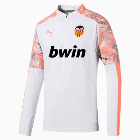 Valencia CF Quarter Zip Men's Training Top, Puma White-Fizzy Orange, small