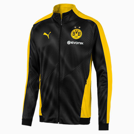 BVB Men's League Stadium Jacket, Cyber Yellow-Puma Black, small