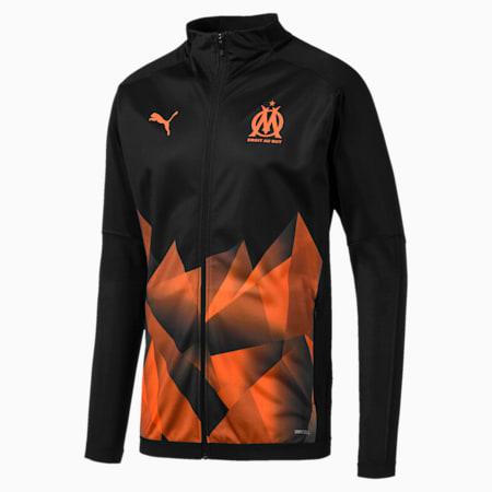 Olympique de Marseille Men's International Stadium Jacket, Puma Black-Orange Popsicle, small
