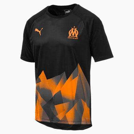 Olympique de Marseille Men's International Stadium Jersey, Puma Black-Orange Popsicle, small