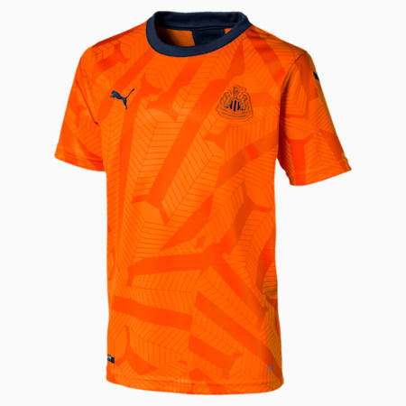 Newcastle United FC Third Replica Short Sleeve Youth Jersey, Vibrant Orange-Peacoat, small