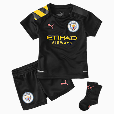 Man City Babies' Away Mini Kit, Puma Black-Georgia Peach, small