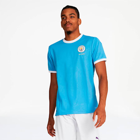Manchester City FC 125 Year Anniversary Men's Replica Jersey, Marina-Puma White, small