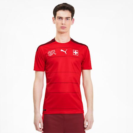 Suisse Men's Home Replica Jersey, Puma Red-Pomegranate, small
