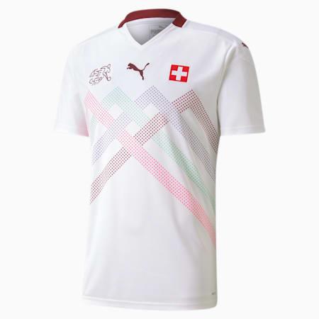 Suisse Men's Away Replica Jersey, Puma White-Pomegranate, small