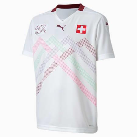 Dziecięca replika koszulki wyjazdowej reprezentacji Szwajcarii, Puma White-Pomegranate, small