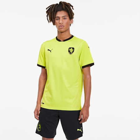 Czech Republic Men's Away Replica Jersey, Limepunch-Puma Black, small