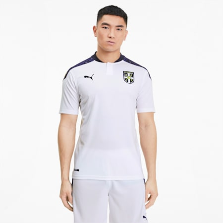 Camiseta deportiva para hombre réplica 2.ª equipación de Serbia, Puma White-Peacoat, small