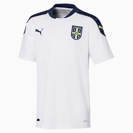 Serbia Kids' Away Replica Jersey, Puma White-Peacoat, small