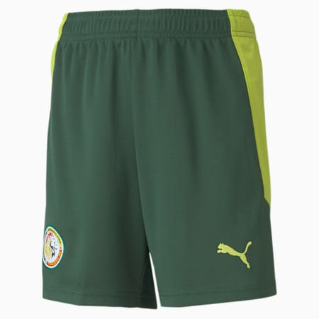 Senegal Replica voetbalshort jongeren, uittenue, Dark Green-Limepunch, small
