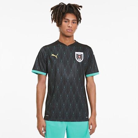 Camiseta de fútbol para hombre Austria Replica, Puma Black-Blue Turquoise, small