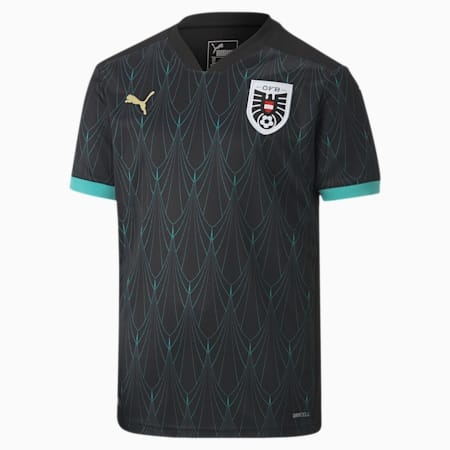 Camiseta para niños Austria Away Replica, Puma Black-Blue Turquoise, small