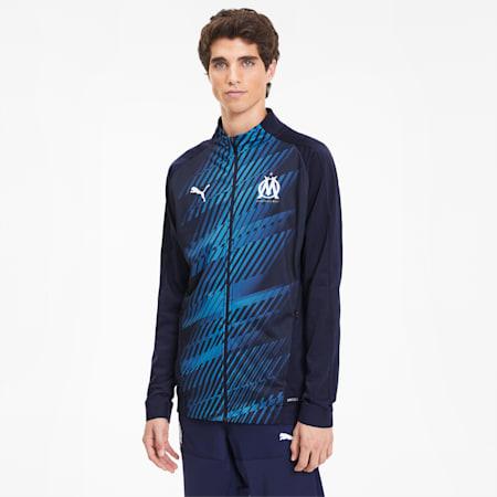 Olympique de Marseille Men's Stadium Jacket, Peacoat, small