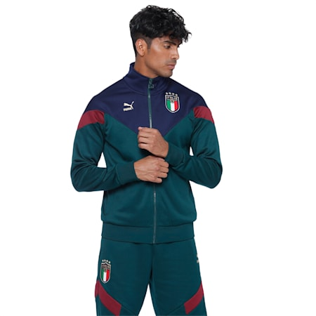 Italia Iconic MCS Men's Track Jacket, Ponderosa Pine-Peacoat, small-IND