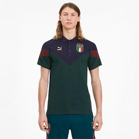 FIGC Iconic MCS Men's Polo, Ponderosa Pine-peacoat, small
