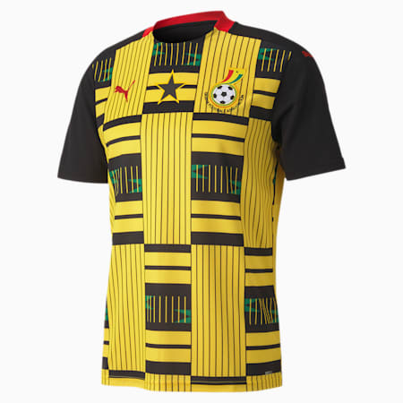 Ghana Away Replica Men's Jersey, Puma Black-Dandelion, small