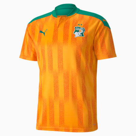 Ivory Coast Men's Home Replica Jersey, Flame Orange-Pepper Green, small