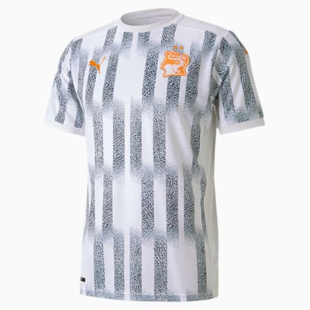 Ivory Coast Away Replica Men's Jersey, Puma White-Flame Orange, small