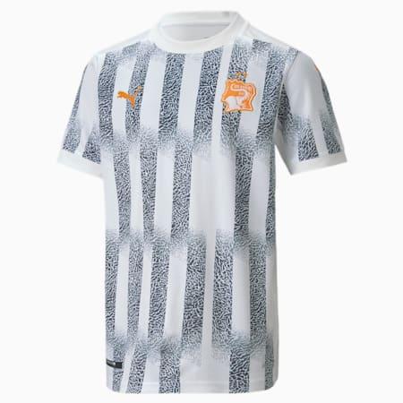 Ivory Coast Away Replica Youth Jersey, Puma White-Flame Orange, small-GBR