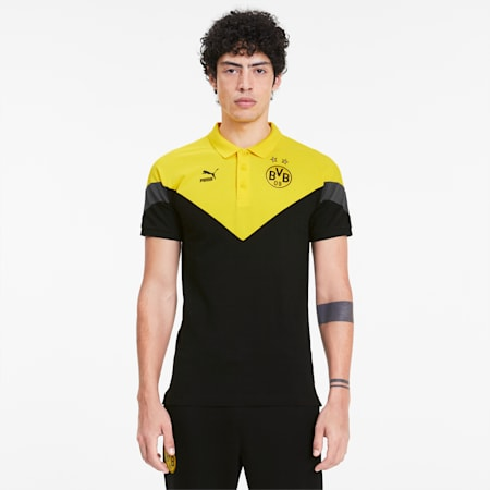 Polo BVB Iconic MCS pour homme, Cyber Yellow-Puma Black, small