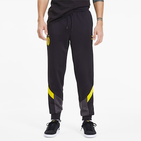 BVB Iconic MCS Men's Track Pants, Puma Black-Cyber Yellow, small