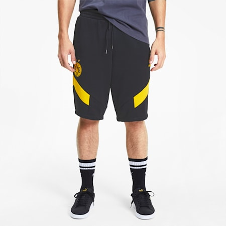 BVB Men's MCS Shorts, Puma Black-Cyber Yellow, small