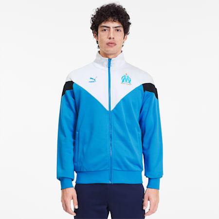 Olympique de Marseille Men's MCS Track Jacket, Bleu Azur-Puma White, small