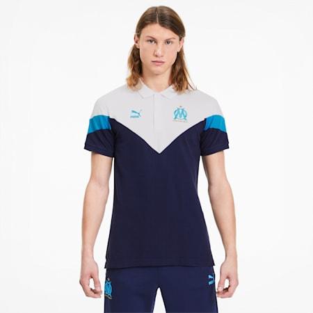 Olympique de Marseille Men's MCS Polo Shirt, Peacoat, small