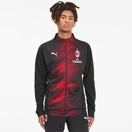 AC Milan Men's Stadium Jacket, Puma Black-Tango Red, small