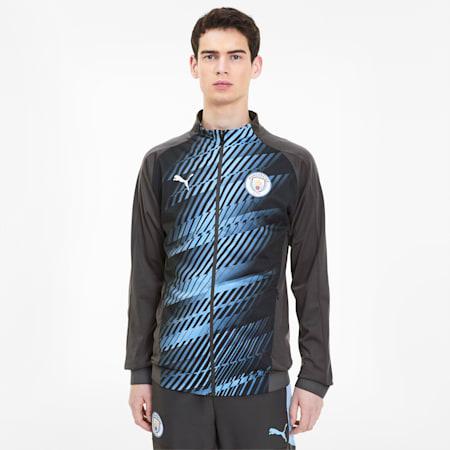 Manchester City FC Men's Stadium Jacket, Asphalt-Team Light Blue, small