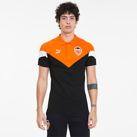 Valencia CF Men's MCS Polo Shirt, Puma Black-Vibrant Orange, small