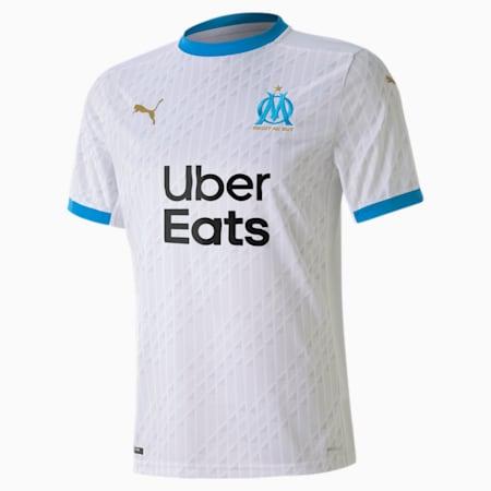 Olympique de Marseille Men's Home Replica Jersey, Puma White-Bleu Azur, small
