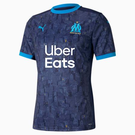 Camiseta para hombre réplica de la 2.ª equipación del Olympique de Marseille, Peacoat-Bleu Azur, small
