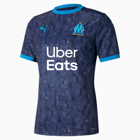 Olympique de Marseille Men's Away Replica Jersey, Peacoat-Bleu Azur, small