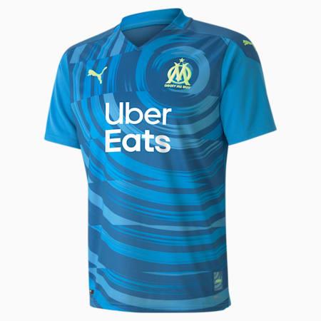 Camiseta para hombre réplica de la 3.ª equipación del Olympique de Marseille, Bleu Azur-Vallarta Blue, small