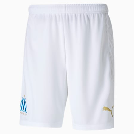 Olympique de Marseille Replica Men's Football Shorts, Puma White-Bleu Azur, small