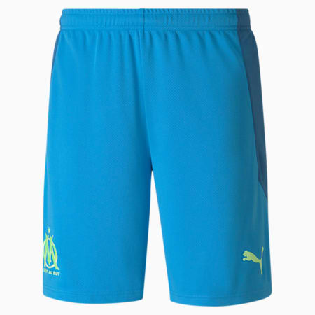 Olympique de Marseille Replica Men's Football Shorts, Bleu Azur-Vallarta Blue, small