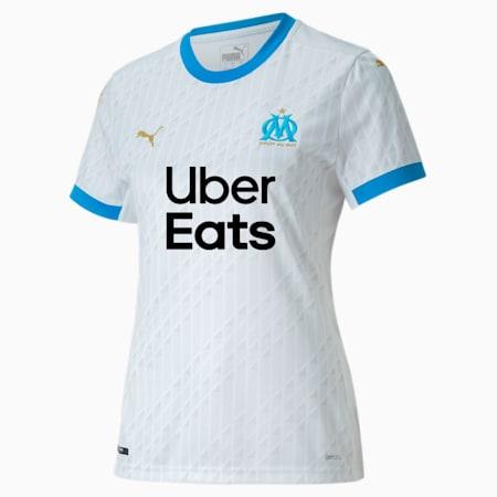 Olympique de Marseille Home Replica Women's Jersey, Puma White-Bleu Azur, small