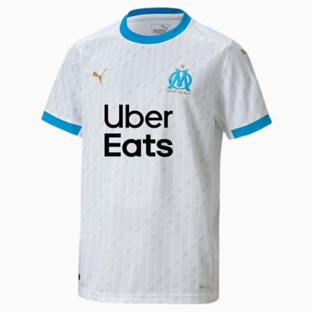 Olympique de Marseille Home Replica Youth Jersey, Puma White-Bleu Azur, small