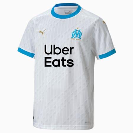 Olympique de Marseille Home Replica Youth Jersey, Puma White-Bleu Azur, small-GBR