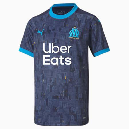 Olympique de Marseille Away Replica Youth Jersey, Peacoat-Bleu Azur, small-GBR