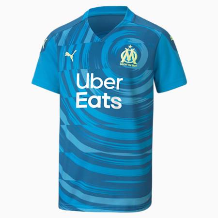Olympique de Marseille Third Replica Youth Jersey, Bleu Azur-Vallarta Blue, small
