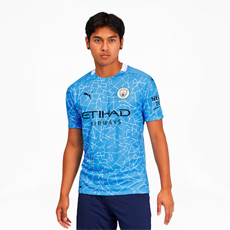 Camiseta original de Manchester City FC para hombre, Team Light Blue-Peacoat, pequeño