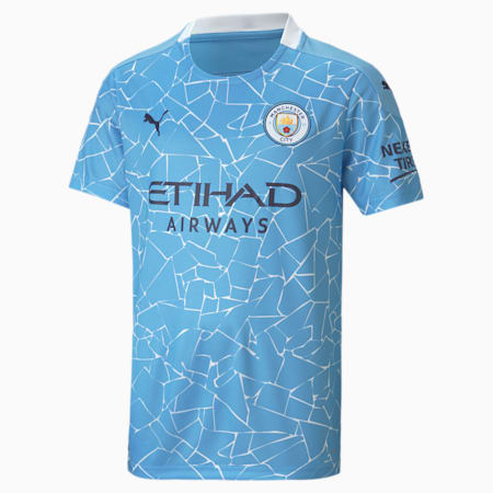 Man City Home Replica Youth Jersey, Team Light Blue-Peacoat, small-SEA