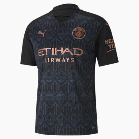Camiseta para hombre réplica de la 2.ª equipación del Manchester City, Puma Black-Dark Denim, small
