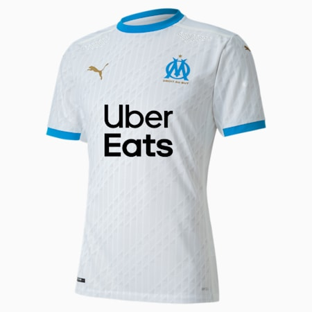 Olympique de Marseille Home Authentic Men's Jersey, Puma White-Bleu Azur, small
